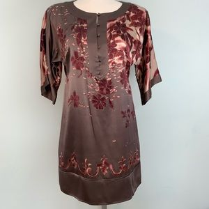 100% silk pretty 3/4 sleeve brown dress